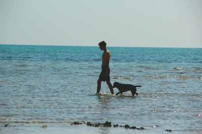 The man and his dog. Happiness.