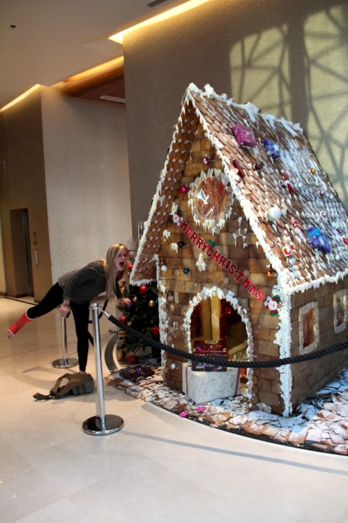 honour eating gingerbread house
