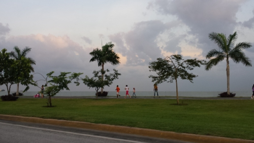 Jogging path, city on one side and ocean on the other.